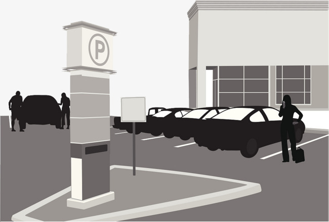 650x440 Vector Silhouette Of Outdoor Parking Lot, Outdoor Parking Lot