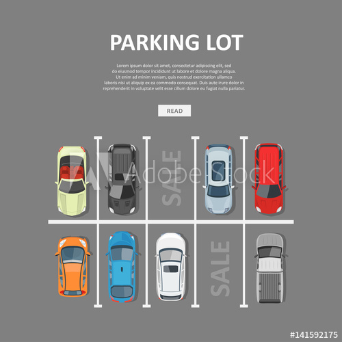 500x500 City Car Parking Vector Illustration In Flat Style
