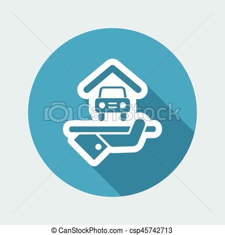 450x470 Hotel Icon. Car Parking. Vector Clip Art