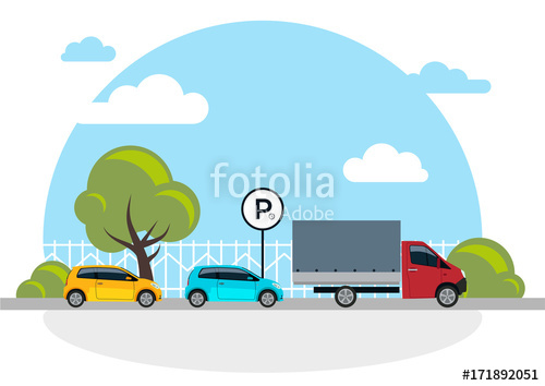 500x354 Parking Vector Illustration Isolated On White, Flat Parking Lot