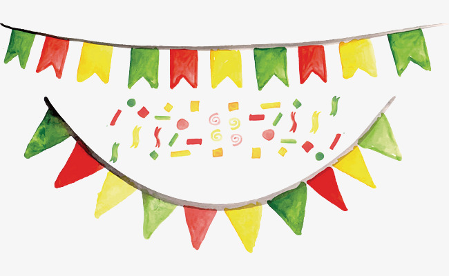 650x400 Carnival Party Decorative Banner, Vector Png, Triangular Flag