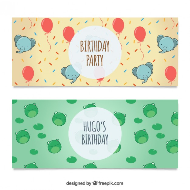 626x626 Lovely Birthday Party Banners Vector Free Download