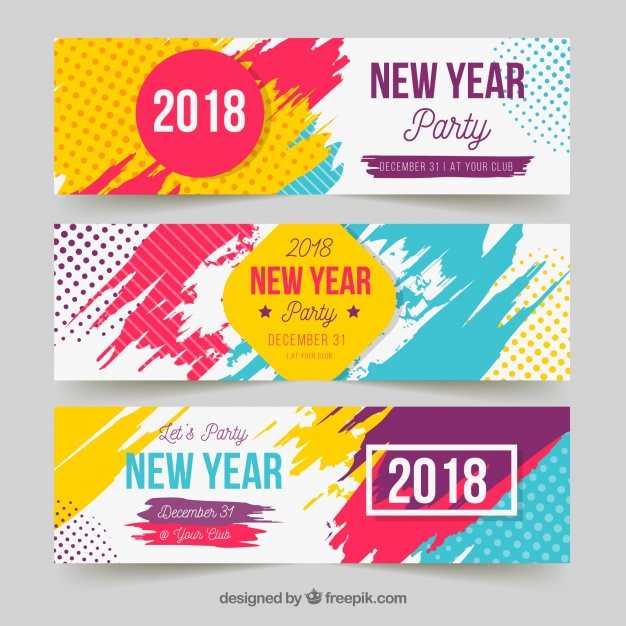 626x626 New Year Party Banners In Bright Colours Vector Free Download