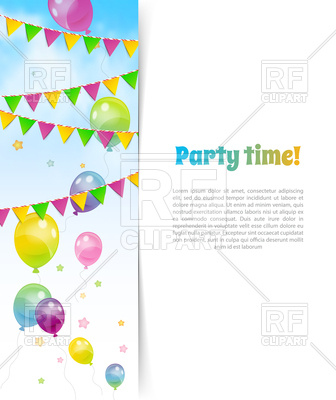 336x400 Party Banner With Flags And Balloons Vector Image Vector Artwork