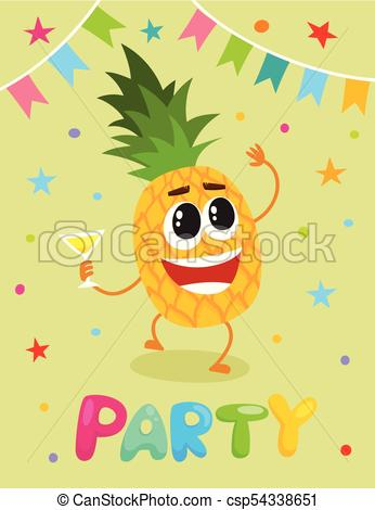 346x470 Party Flayer Template, Cute Pineapple Character. Party Banner