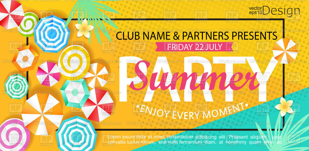 1200x586 Summer Party Banner With Sun Umbrellas On Background. Vector
