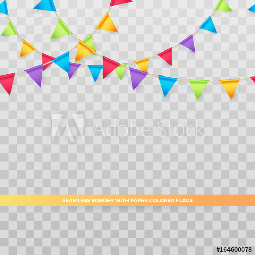 500x500 Vector Seamless Border With Paper Party Banner Of Colored Flags