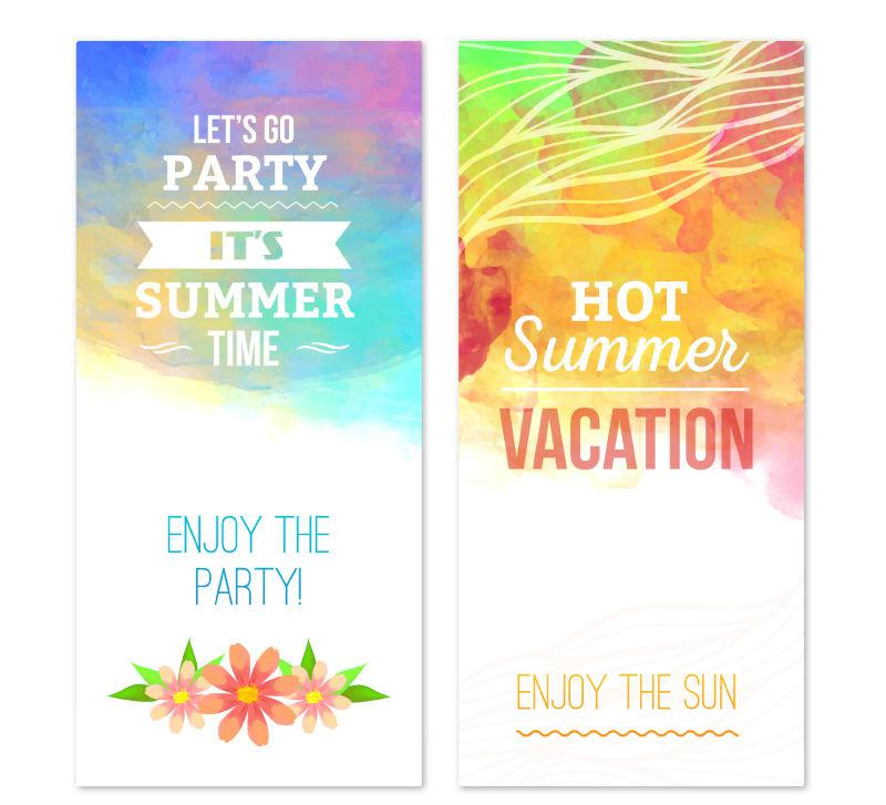 800x727 2 Fresh Summer Party Banner Vector [Ai]