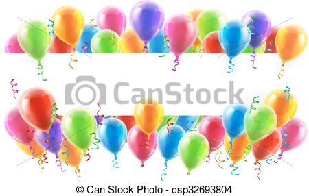 450x286 Balloons Party Banner. A Balloons Banner Sign With Party Balloons