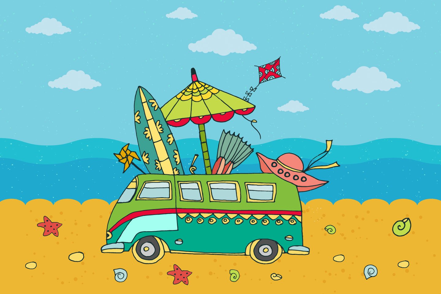 1440x960 Beach Party Free Vector Illustration