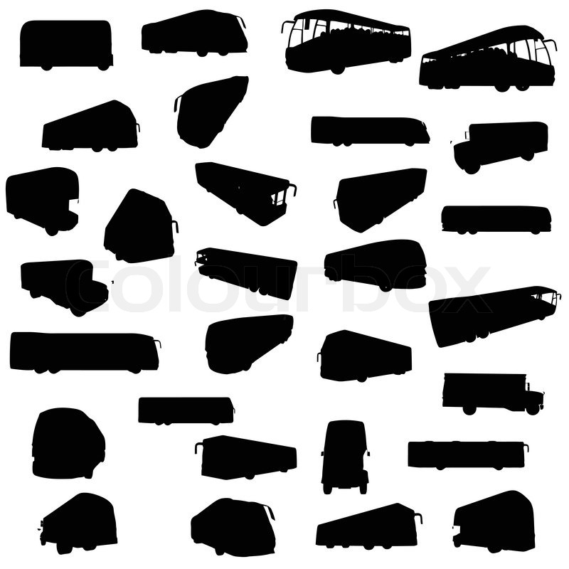 800x800 Silhouette Of Busses Stock Vector Colourbox