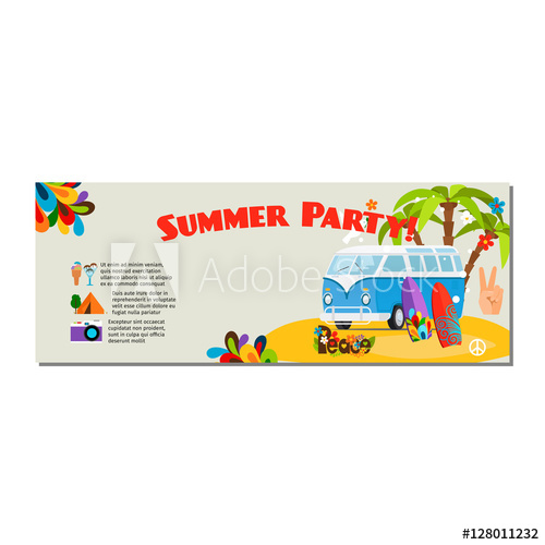 500x500 Summer Party Horizontal Flyer With Palm Trees, Blue Bus And