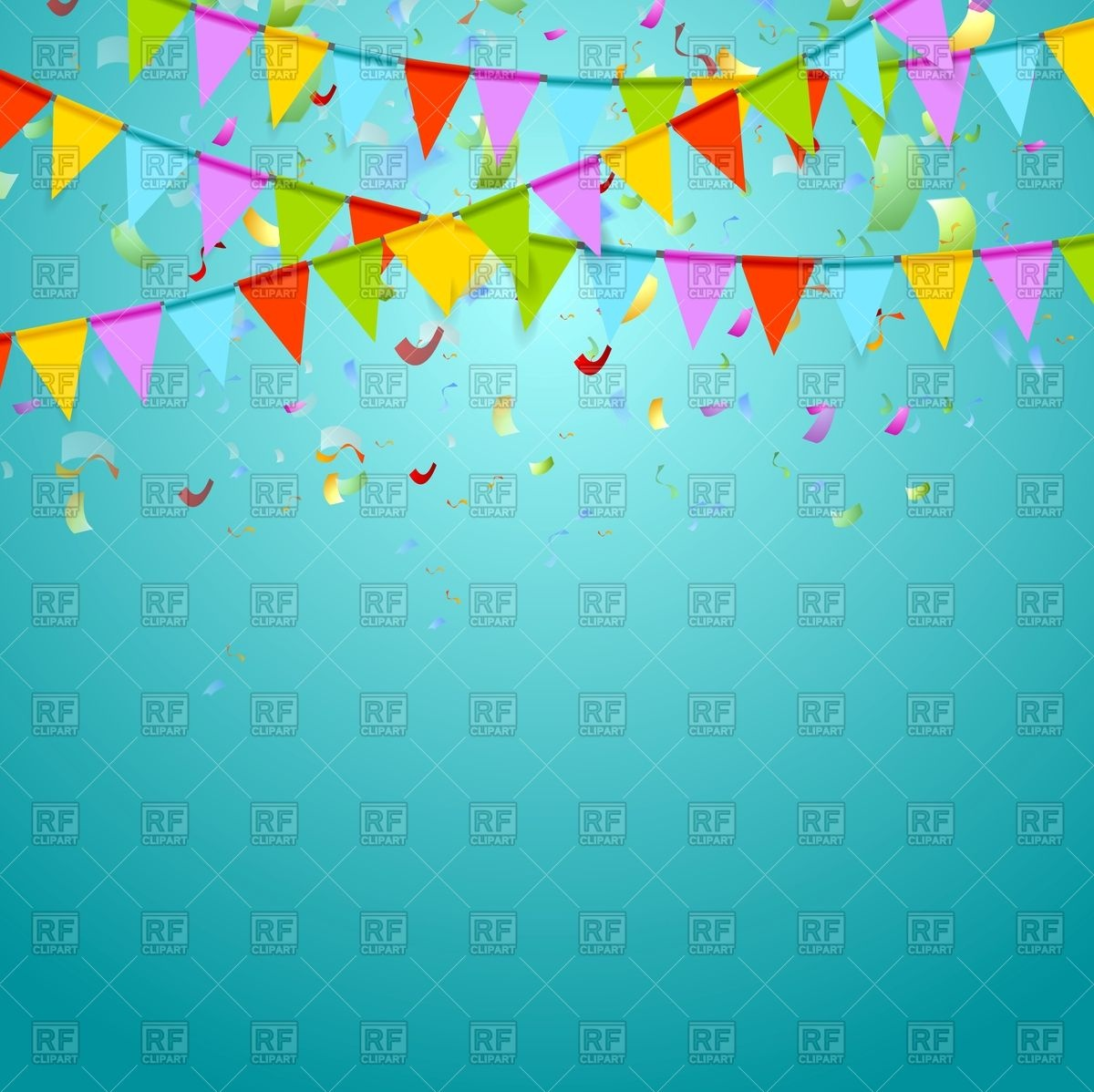 1200x1198 Colorful Party Flags On Abstract Background With Confetti Vector