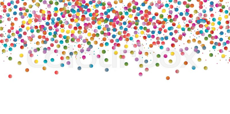800x399 Multicolored Round Confetti Splash Isolated On White Background