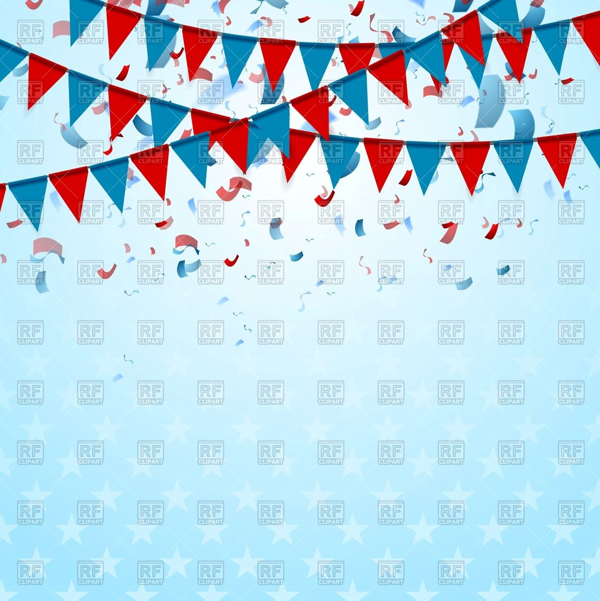 1198x1200 Party Flags On Abstract Usa Background With Confetti Vector Image