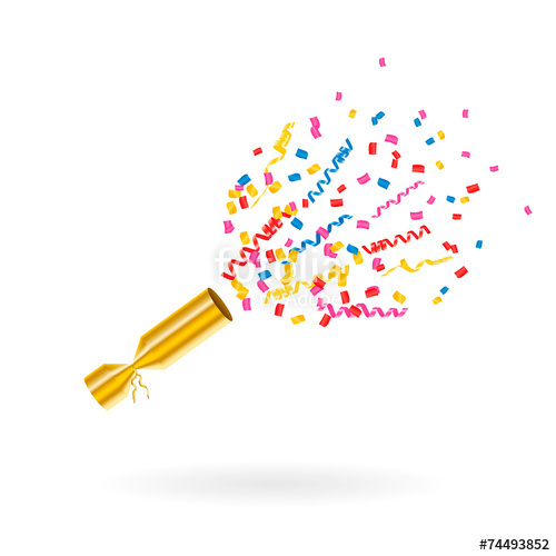 500x500 Party Popper With Confetti And Streamers, Vector Illustration
