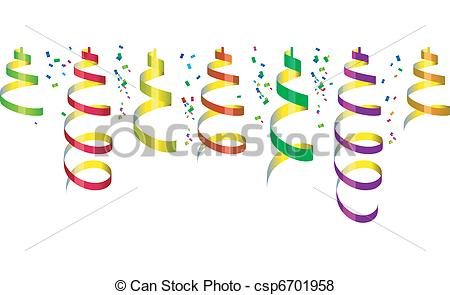 450x295 Background With Party Streamers And Confetti, Vector Illustration.
