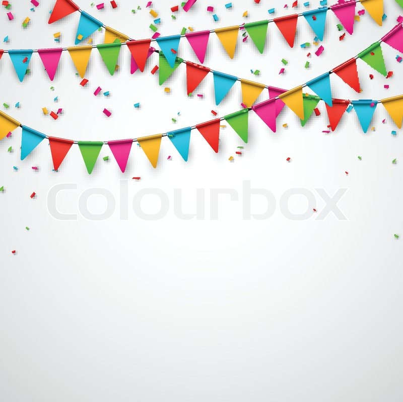 800x799 Celebrate Background. Party Flags With Confetti. Vector