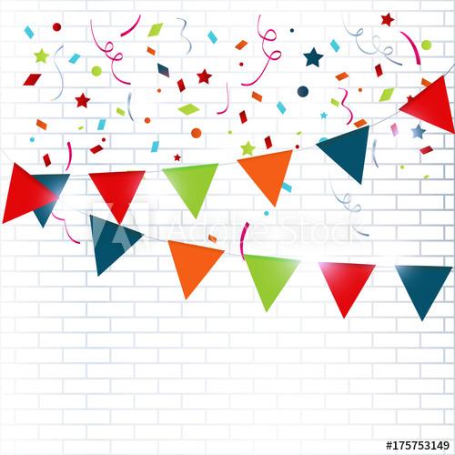 500x500 Celebration Colorful Background With Confetti Vector Illustration