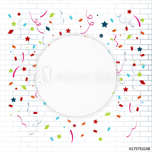 500x500 Celebration Colorful Frame Background With Confetti Vector