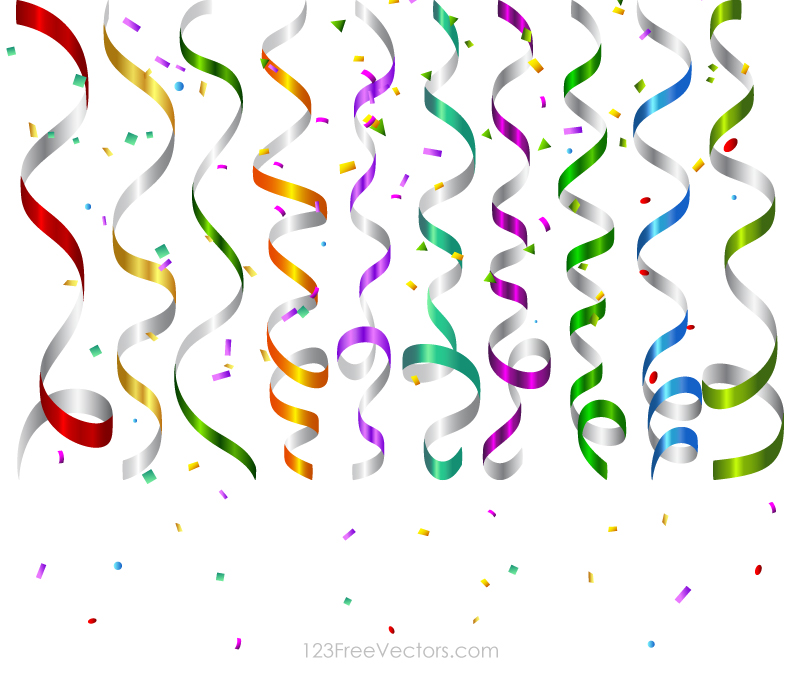 800x675 Colorful Birthday Party Streamers, Confetti Vector By