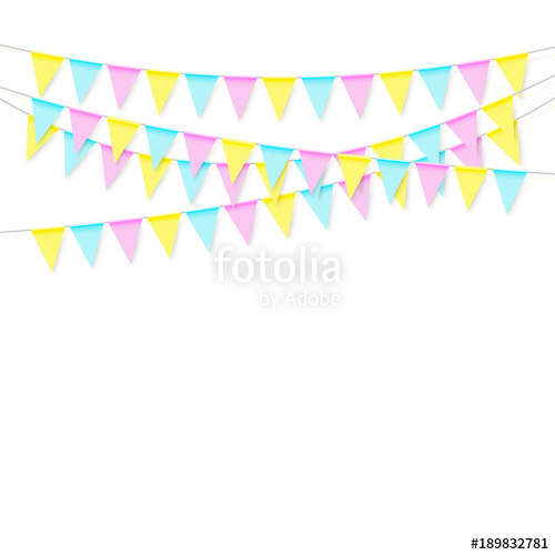 500x500 Colorful Realistic Soft Colorful Flag Garland With Shadow