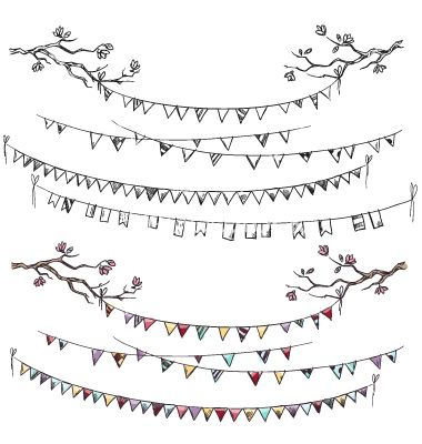 380x400 Doodle Tree Branches And Party Flags Vector. Bunting Flag Sketches