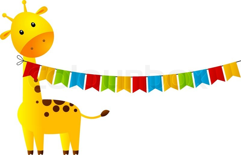 800x515 Funny Giraffe With Party Flags Stock Vector Colourbox