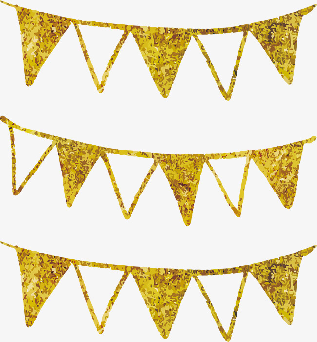 650x700 Gold Hand Painted Flags, Vector Png, Party Flag, Banner Png And