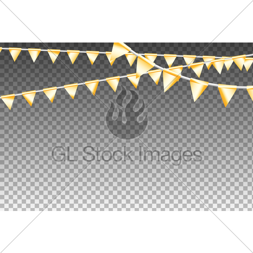 500x500 Golden Isolated Garland With Party Flags. Vector Illustra... Gl