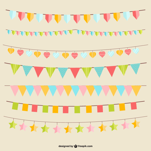 600x600 Party Flags Vector 123freevectors
