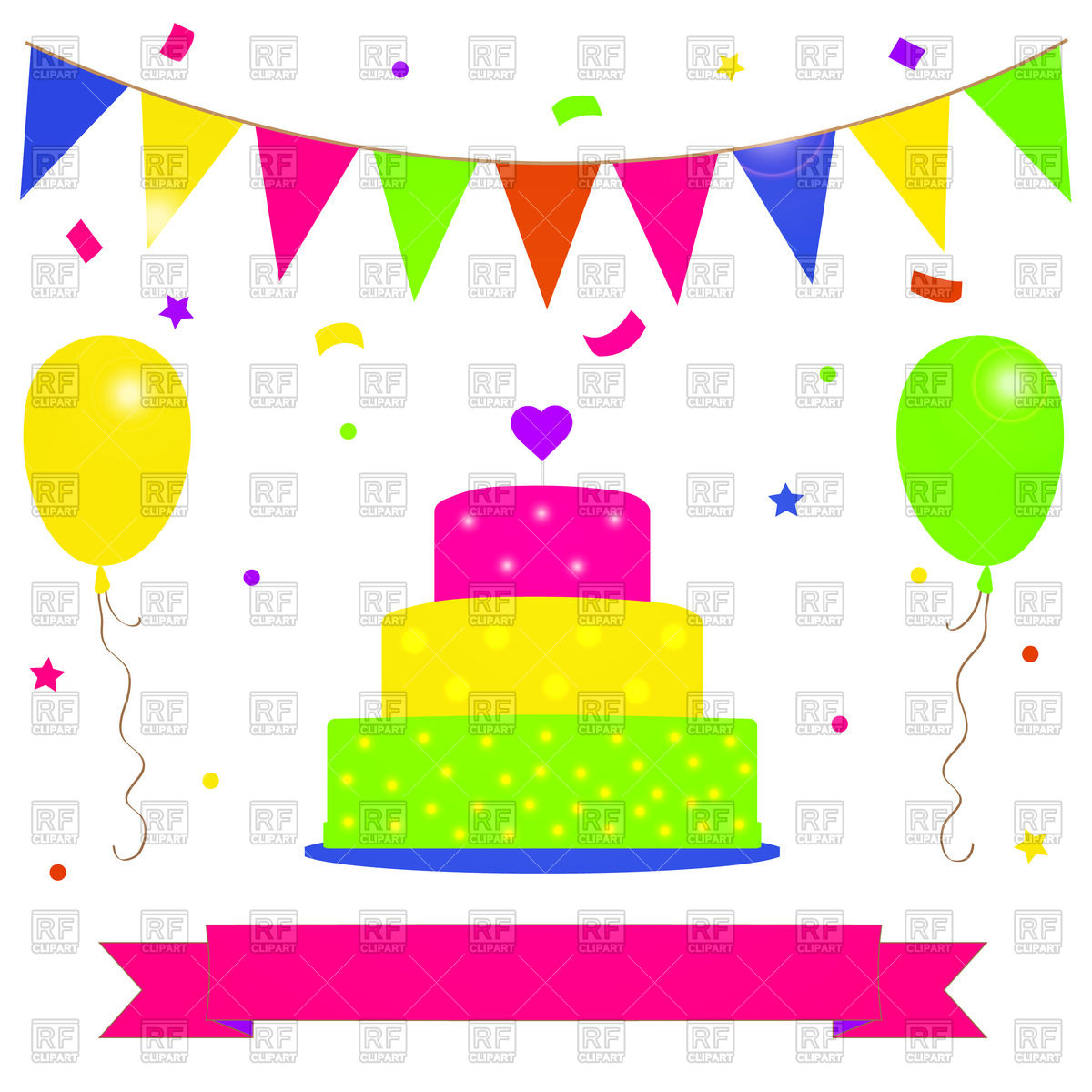 1200x1200 Birthday Postcard With Colorful Cake, Balloons And Party Flags