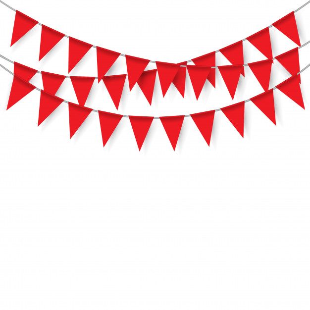 626x626 Red Party Flags On White Background Vector Premium Download