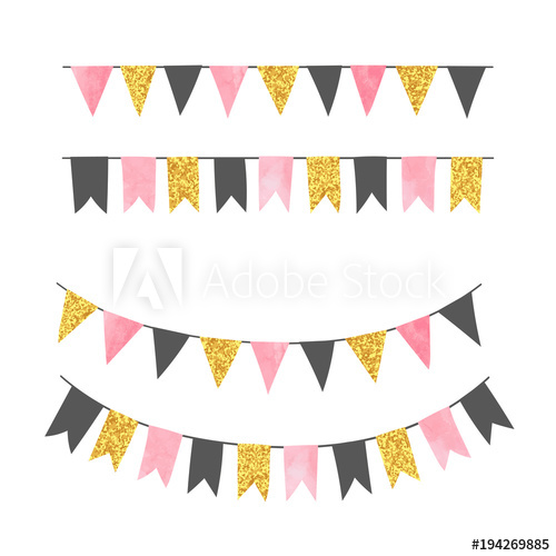500x500 Set Of Bunting Party Flags. Vector Illustration, Suitable For