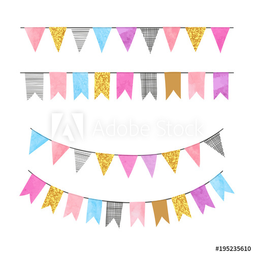 500x500 Set Of Colorful Bunting Party Flags. Vector Illustration, Suitable