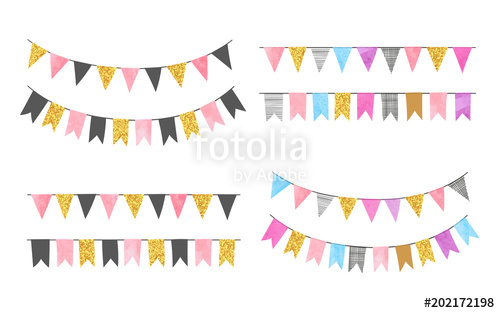 500x313 Set Of Colorful Watercolor Bunting Party Flags. Vector