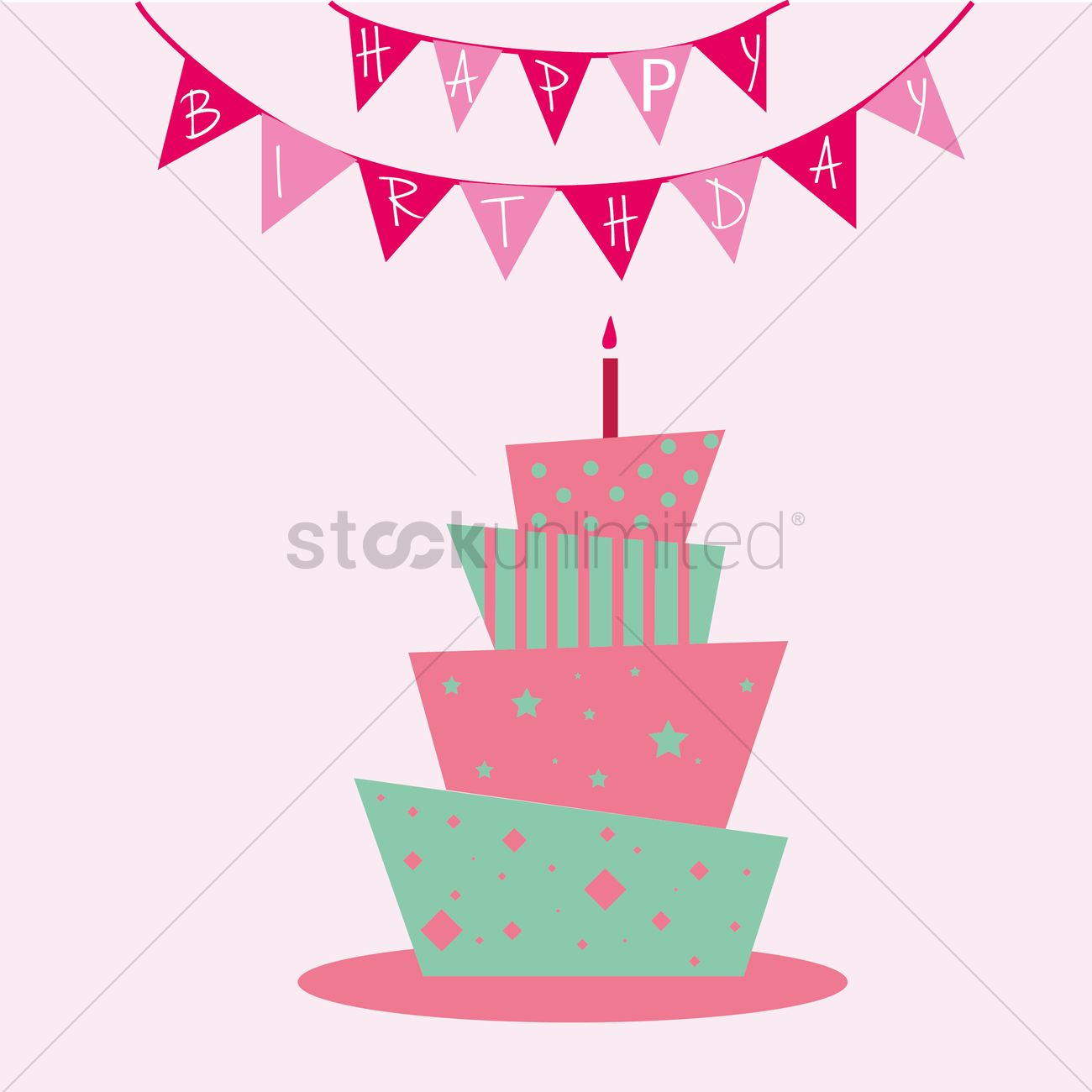 1300x1300 Tiered Birthday Cake With Happy Birthday Party Flags Vector Image