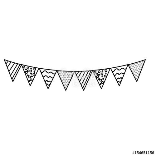 500x500 Line Party Flags To Decoration Happy Birthday Stock Image And