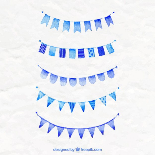 626x626 Blue Party Flags Vector Free Download