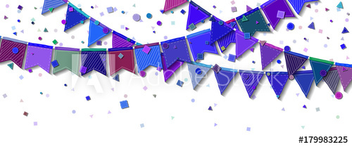 500x209 Bunting Party Flags. Decent Celebration Card. Blue And Purple