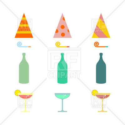 400x400 Party Set. Celebratory Cap And Party Horn, Alcohol Cocktail Vector