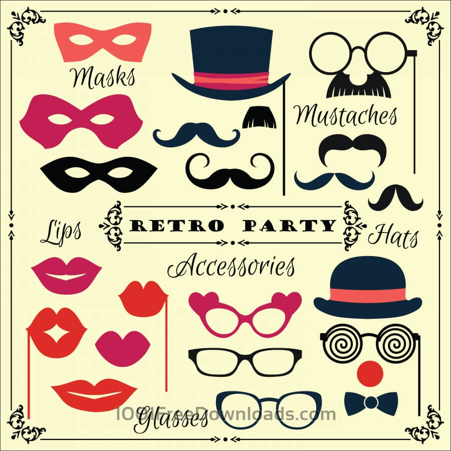 900x900 Free Vectors Accessories For Fun Retro Party. Vector Illustration