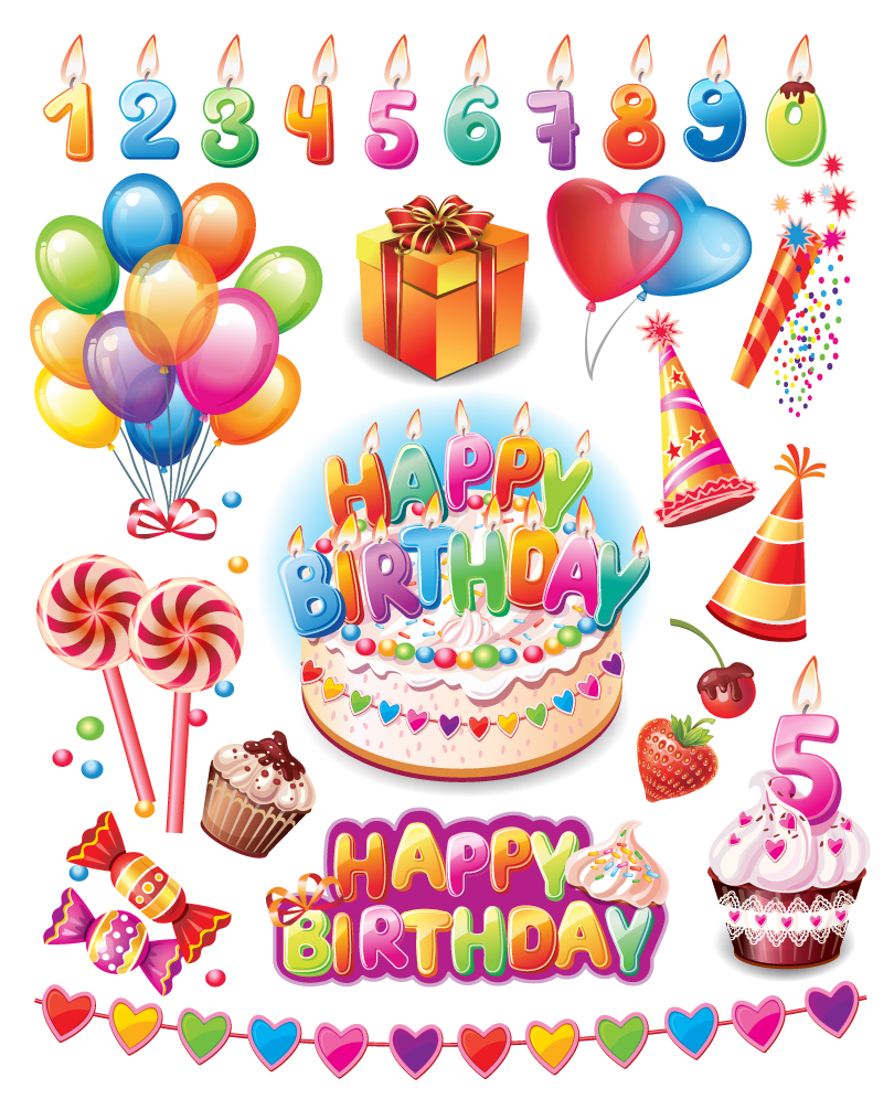 810x996 Happy Birthday Party Supplies Vector Free Vector Graphic Download