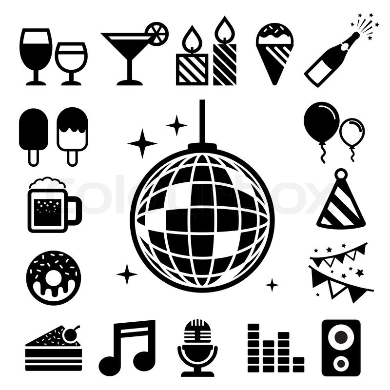 800x800 Party And Celebration Icon Set. Illustration Eps10 Stock Vector