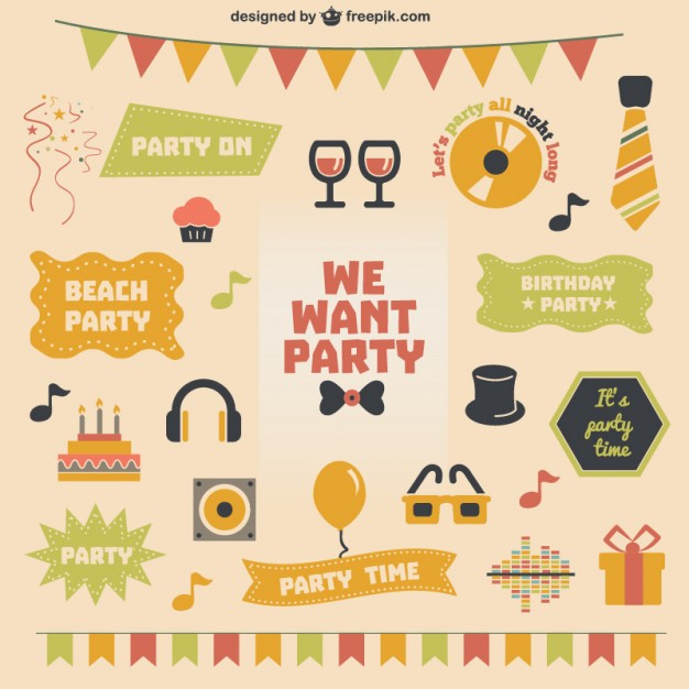 626x626 Retro Party Theme Vector Vector Free Download