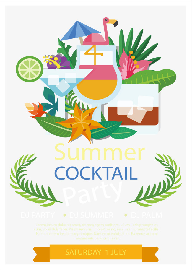650x914 Summer Cocktail Party, Summer Vector, Cocktail Vector, Party