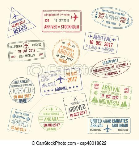 450x470 Vector Icons Of Travel City Passport Stamp. Passport Travel Stamps