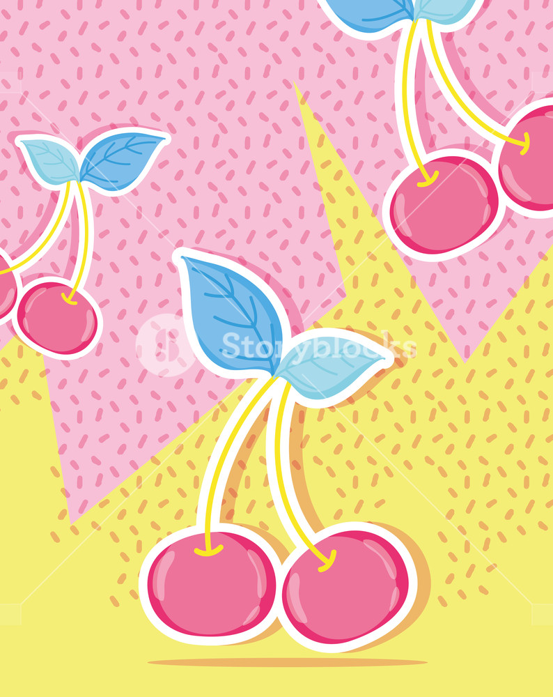 794x1000 Cherries Punchy Pastel Vector Illustration Graphic Design Royalty