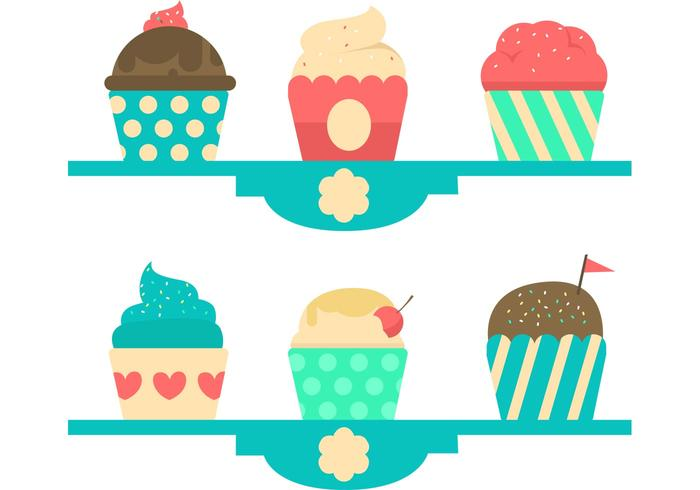 700x490 Cupcake Stand Pastel Vector