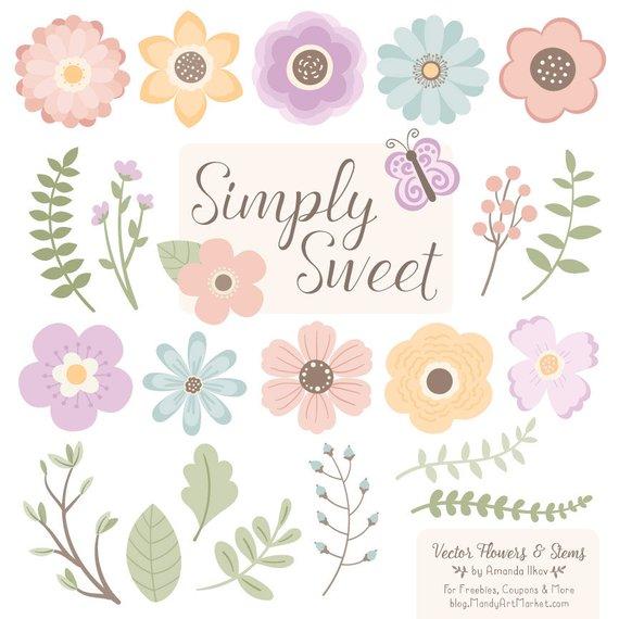 570x570 Cute Flowers Clipart In Grandmas Garden Pastel Vector Etsy